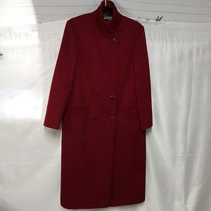 Loring Red Holiday 100% Forstmann Wool Trench Coat